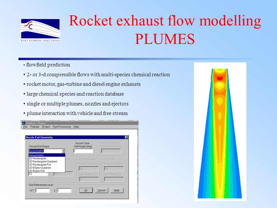 Rocket motor exhausts Compressible –(high pressures, temperatures - typical exit Mach number is around 2.5) Highly turbulent Heat transfer Chemical transport and reaction Multiphase 2D axisymmetric and sometimes 3D (even if only through swirl)