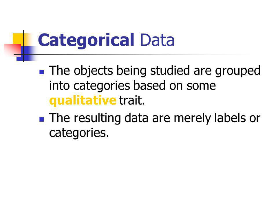 Key Terms Categorical variables Quantity variables Nominal variables Ordinal Variables Binary data. Discrete and continuous data. Interval and ratio v