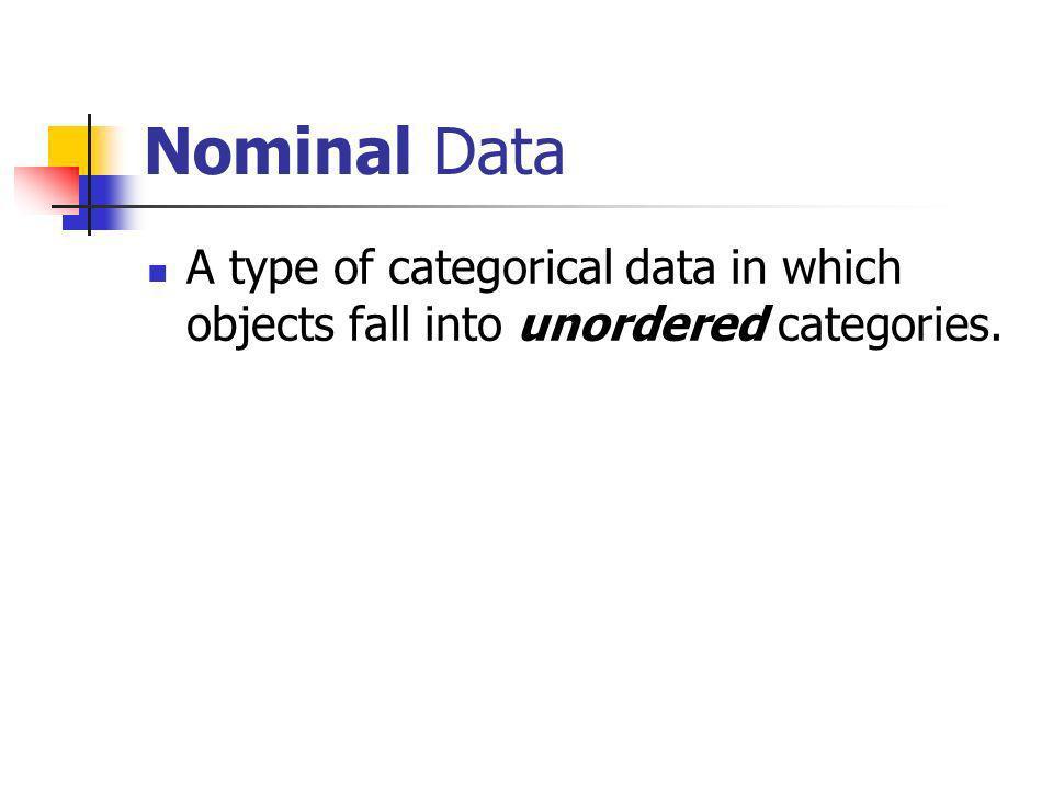 Nominal, Ordinal, and/or Binary Categorical data classified as Nominal, Ordinal, and/or Binary Categorical data Not binaryBinary Ordinal data Nominal data BinaryNot binary