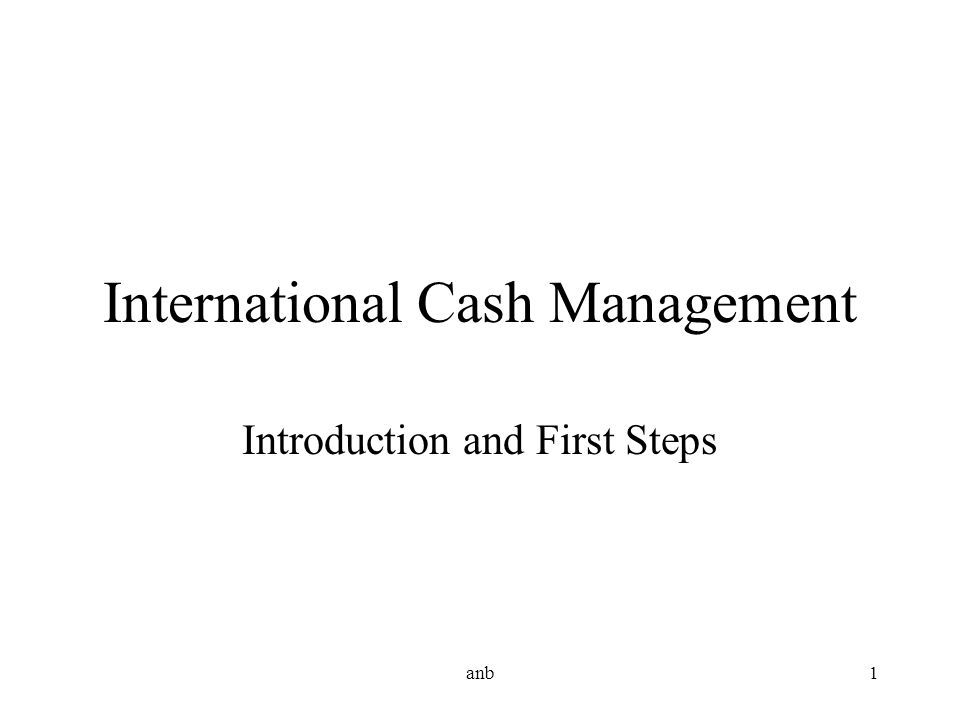 anb1 International Cash Management Introduction and First Steps