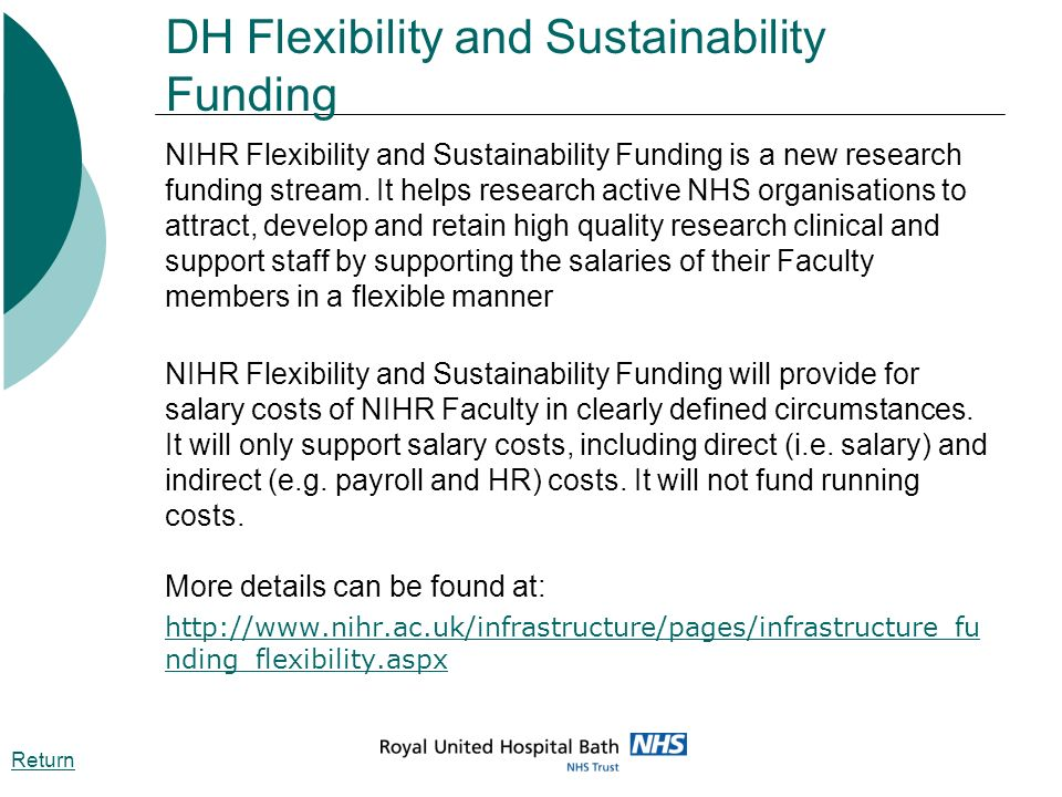DH Flexibility and Sustainability Funding NIHR Flexibility and Sustainability Funding is a new research funding stream. It helps research active NHS o