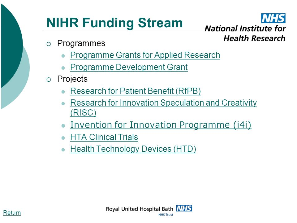 NIHR Funding Stream Programmes Programme Grants for Applied Research Programme Development Grant Projects Research for Patient Benefit (RfPB) Research