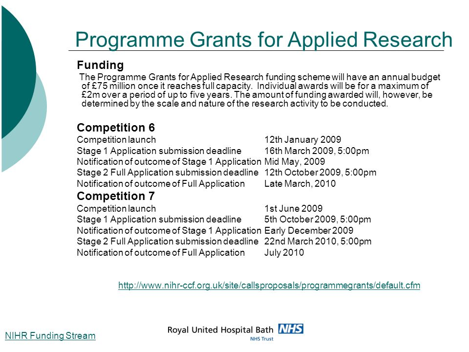 Programme Grants for Applied Research Funding The Programme Grants for Applied Research funding scheme will have an annual budget of £75 million once