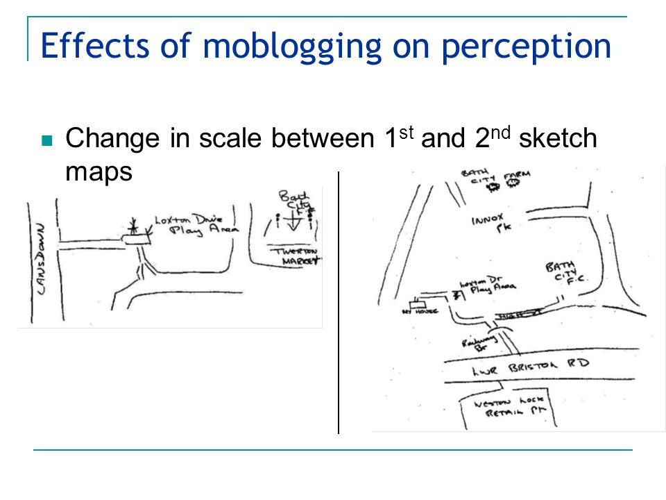 Effects of moblogging on perception Change in scale between 1 st and 2 nd sketch maps