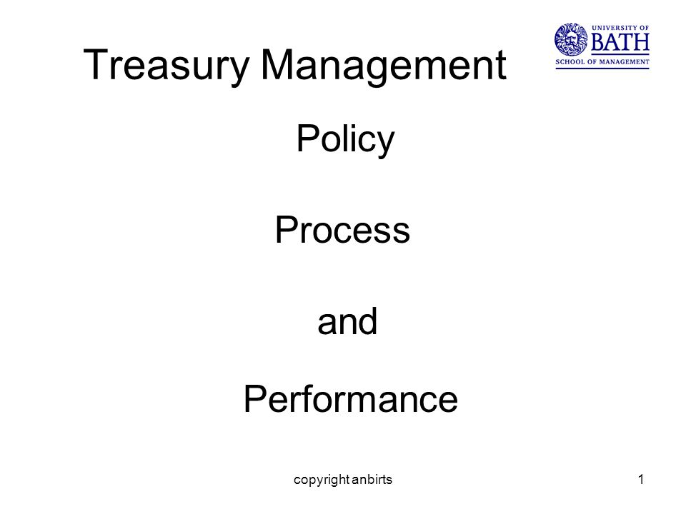 copyright anbirts1 Treasury Management Policy Process and Performance