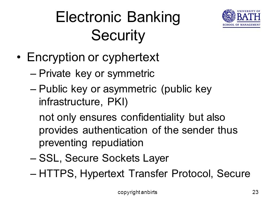 copyright anbirts23 Electronic Banking Security Encryption or cyphertext –Private key or symmetric –Public key or asymmetric (public key infrastructure, PKI) not only ensures confidentiality but also provides authentication of the sender thus preventing repudiation –SSL, Secure Sockets Layer –HTTPS, Hypertext Transfer Protocol, Secure