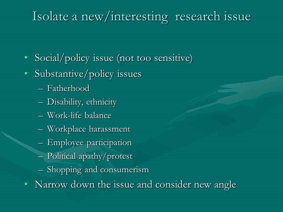Isolate a new/interesting research issue Social/policy issue (not too sensitive)Social/policy issue (not too sensitive) Substantive/policy issuesSubstantive/policy issues –Fatherhood –Disability, ethnicity –Work-life balance –Workplace harassment –Employee participation –Political apathy/protest –Shopping and consumerism Narrow down the issue and consider new angleNarrow down the issue and consider new angle