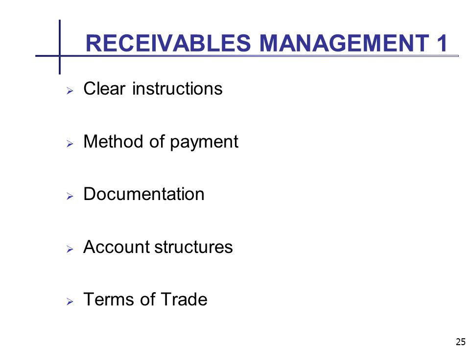 25 RECEIVABLES MANAGEMENT 1 Clear instructions Method of payment Documentation Account structures Terms of Trade
