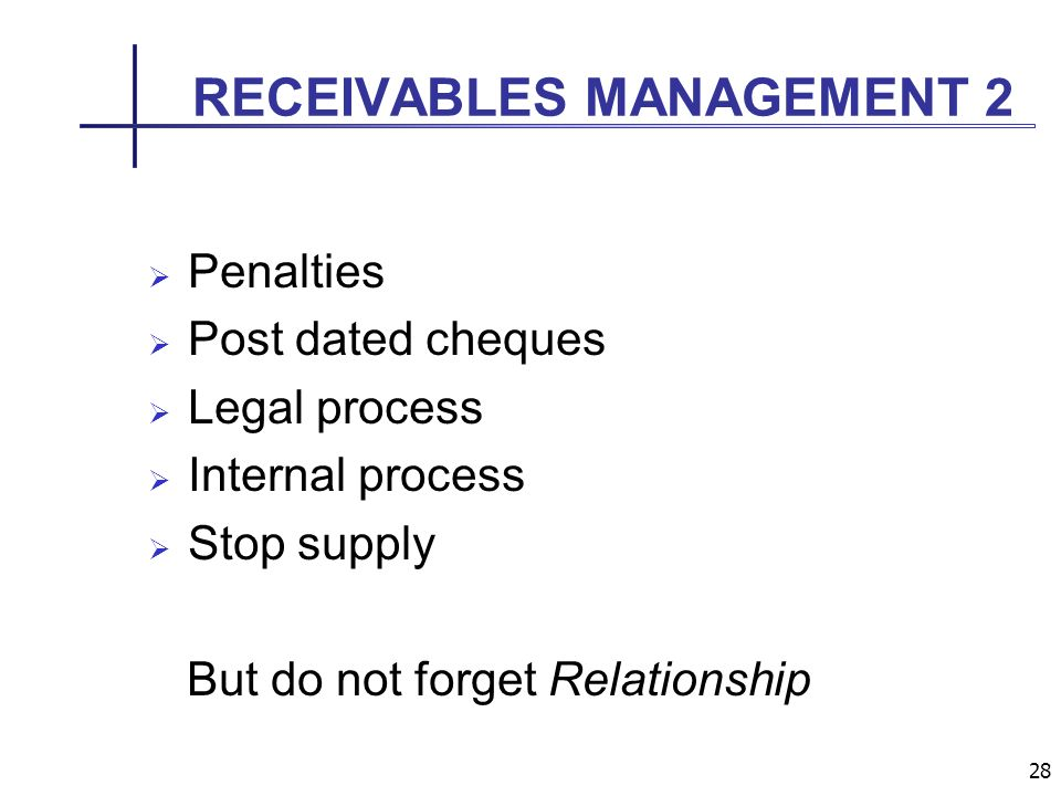 28 RECEIVABLES MANAGEMENT 2 Penalties Post dated cheques Legal process Internal process Stop supply But do not forget Relationship