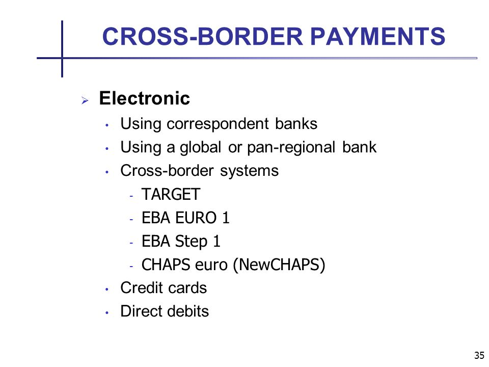 35 CROSS-BORDER PAYMENTS Electronic Using correspondent banks Using a global or pan-regional bank Cross-border systems - TARGET - EBA EURO 1 - EBA Step 1 - CHAPS euro (NewCHAPS) Credit cards Direct debits