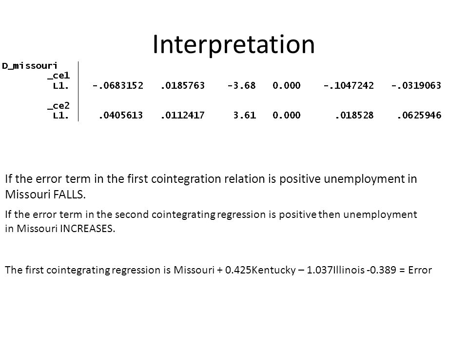 Interpretation If the error term in the first cointegration relation is positive unemployment in Missouri FALLS. If the error term in the second coint