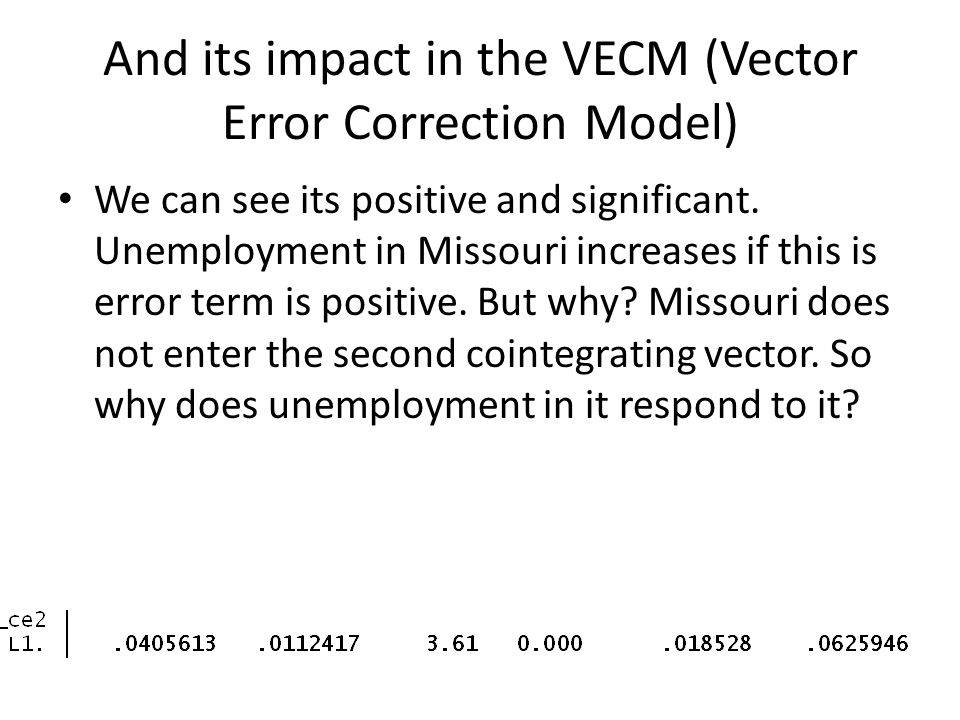 And its impact in the VECM (Vector Error Correction Model) We can see its positive and significant. Unemployment in Missouri increases if this is erro