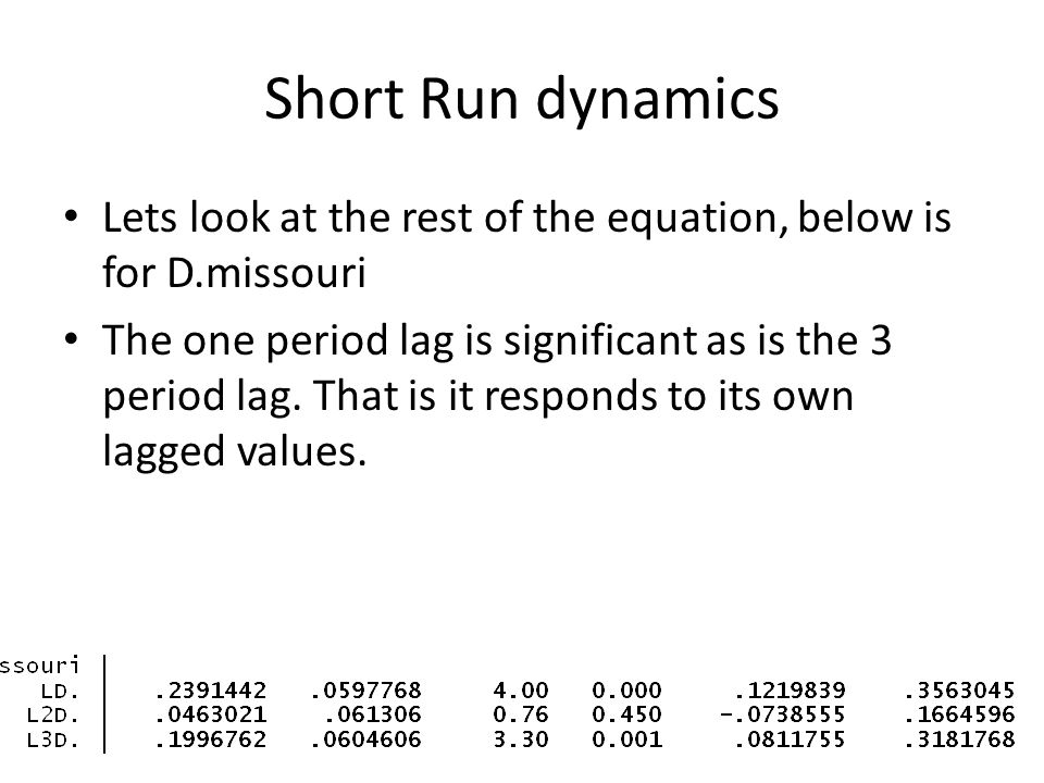 Short Run dynamics Lets look at the rest of the equation, below is for D.missouri The one period lag is significant as is the 3 period lag. That is it