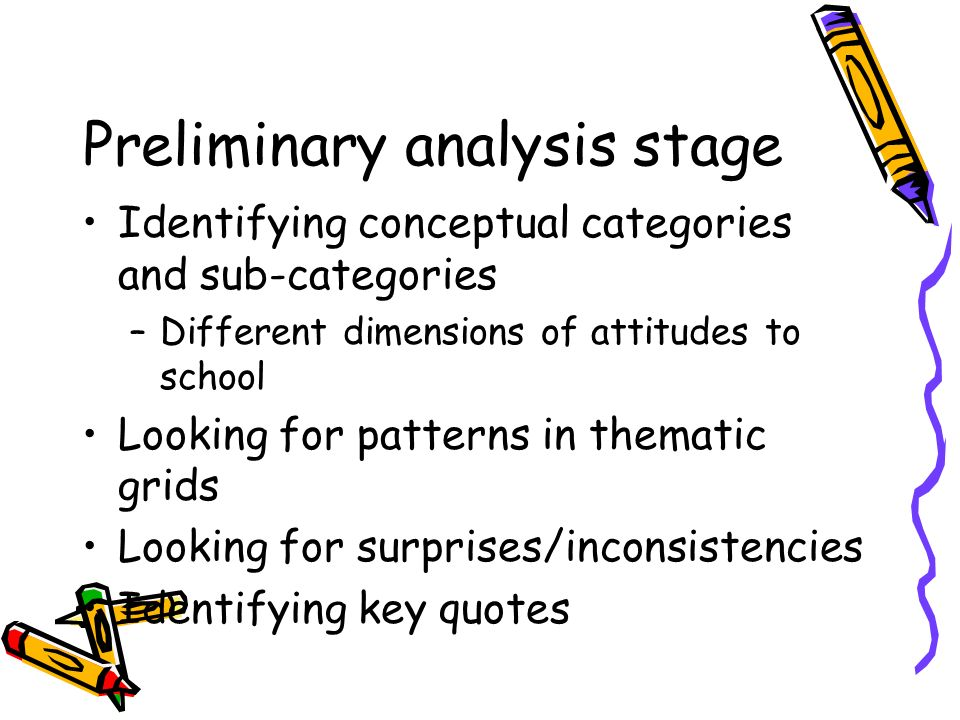 Preliminary analysis stage Identifying conceptual categories and sub-categories –Different dimensions of attitudes to school Looking for patterns in thematic grids Looking for surprises/inconsistencies Identifying key quotes