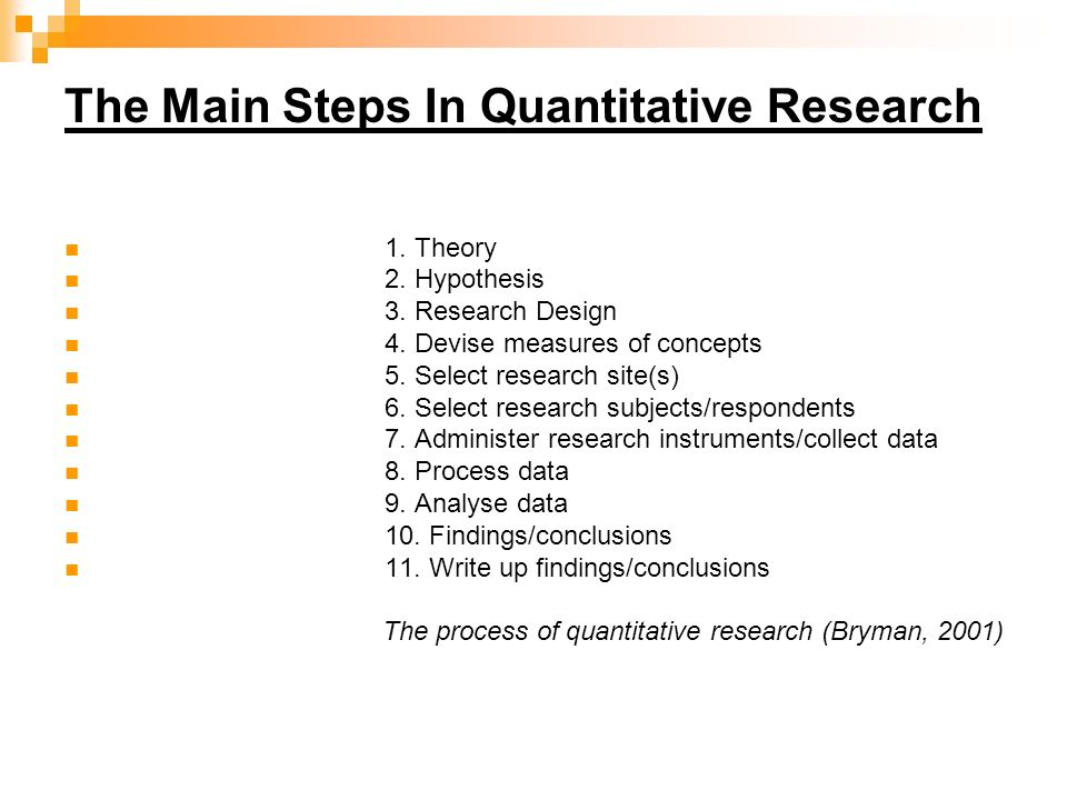 The Main Steps In Quantitative Research 1. Theory 2.