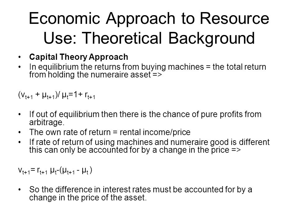 Economic Approach to Resource Use: Theoretical Background Capital Theory Approach In equilibrium the returns from buying machines = the total return f