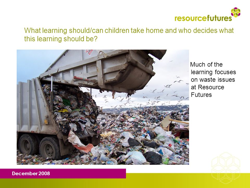 December 2008 What learning should/can children take home and who decides what this learning should be? Much of the learning focuses on waste issues a