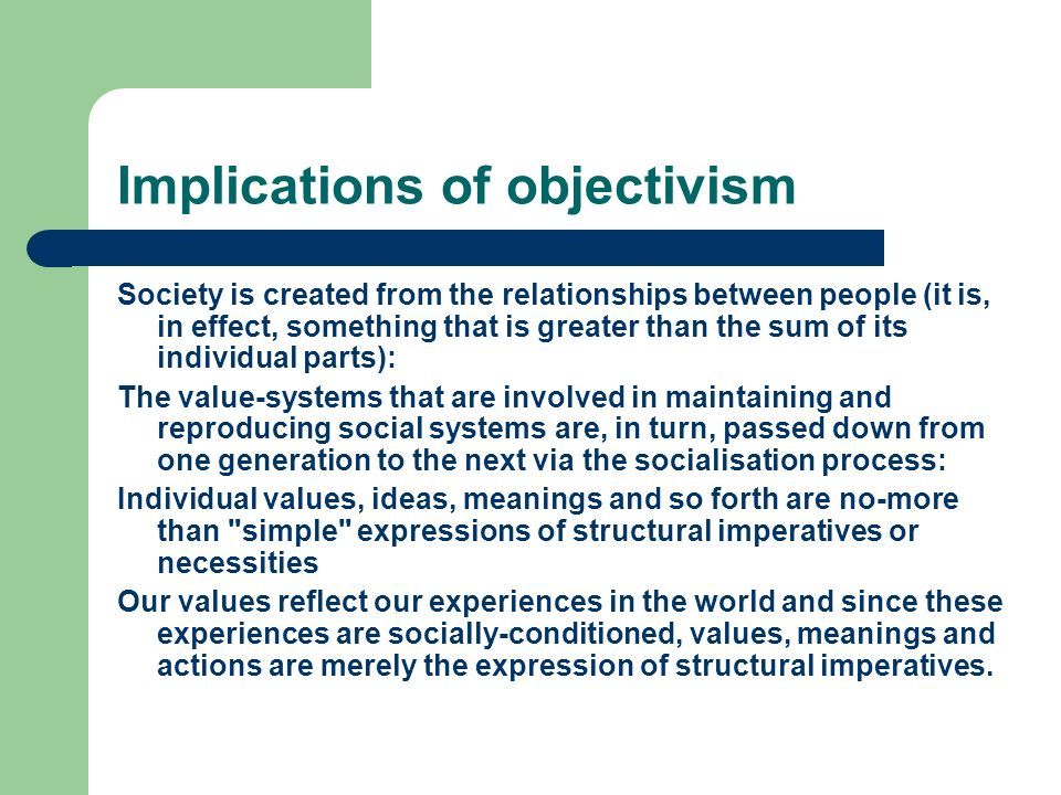 Implications of objectivism Society is created from the relationships between people (it is, in effect, something that is greater than the sum of its