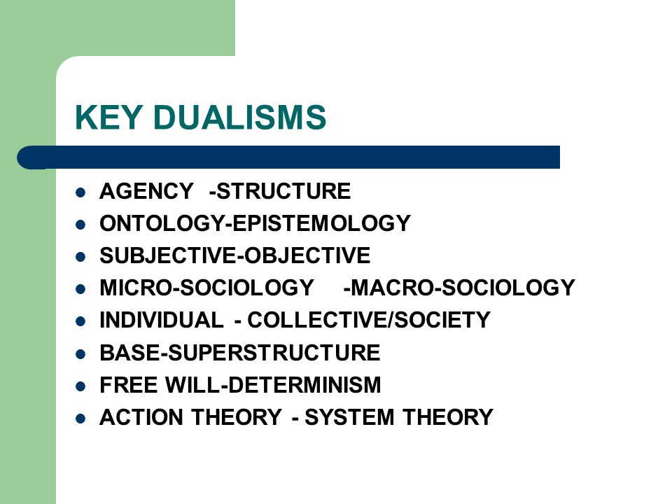KEY DUALISMS AGENCY-STRUCTURE ONTOLOGY-EPISTEMOLOGY SUBJECTIVE-OBJECTIVE MICRO-SOCIOLOGY-MACRO-SOCIOLOGY INDIVIDUAL - COLLECTIVE/SOCIETY BASE-SUPERSTR