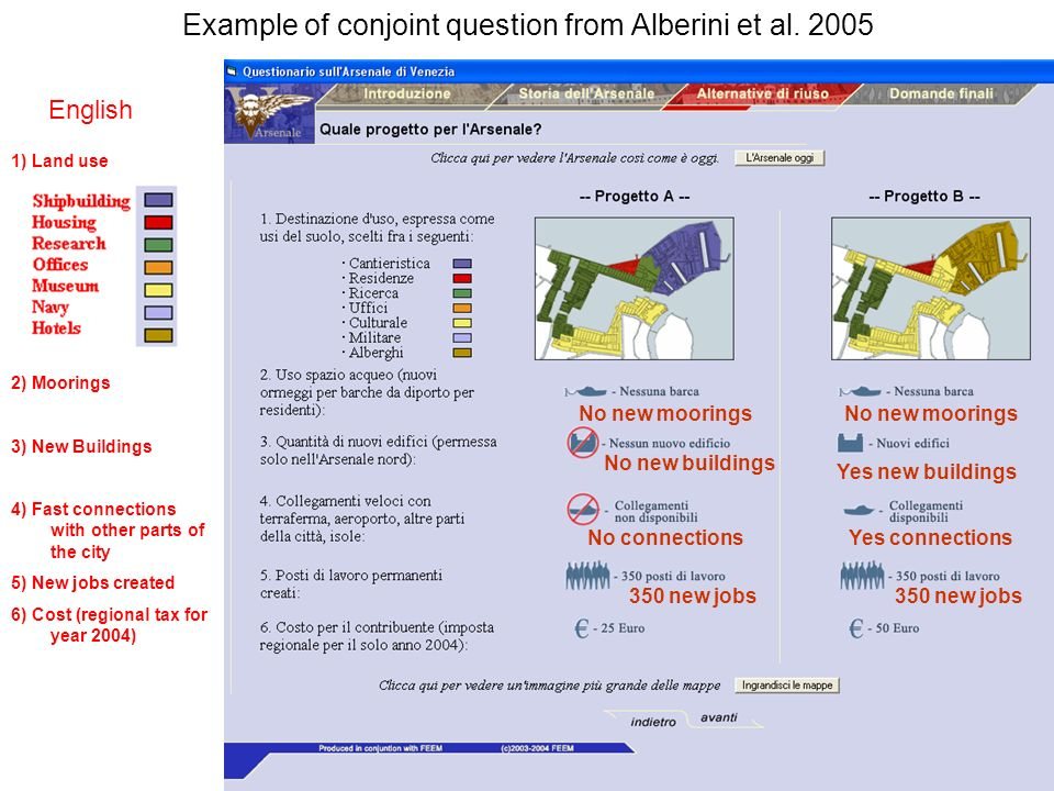 13 Example of conjoint question from Alberini et al.