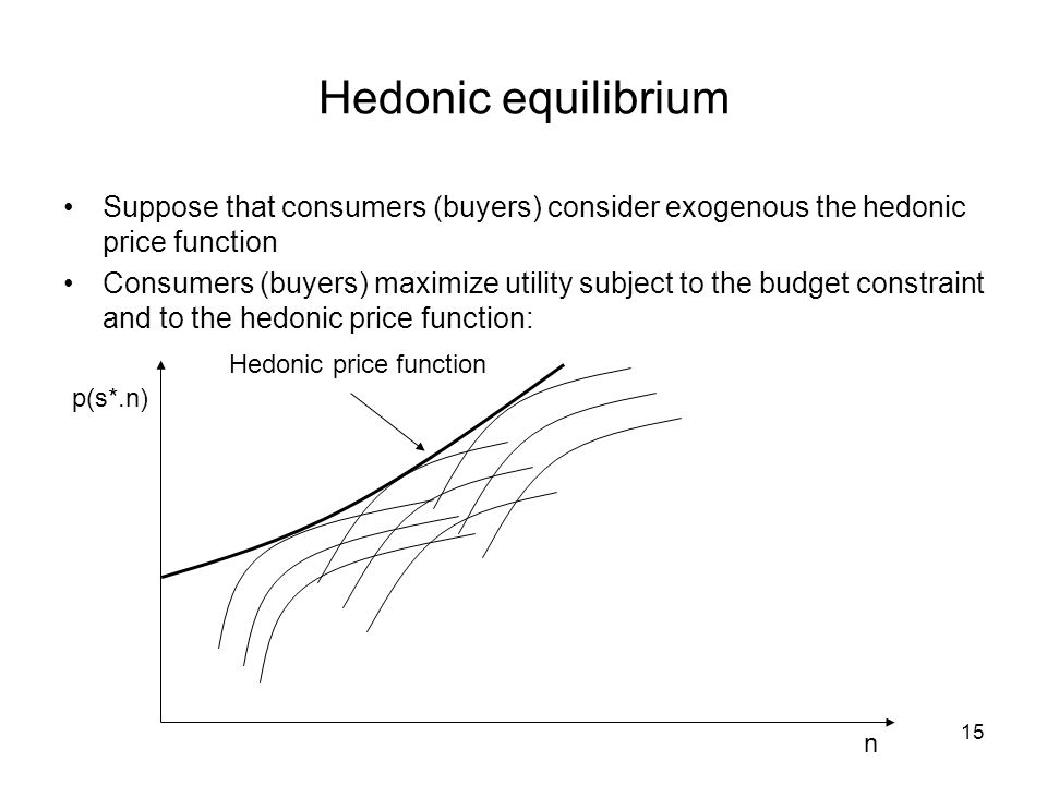15 Hedonic equilibrium Suppose that consumers (buyers) consider exogenous the hedonic price function Consumers (buyers) maximize utility subject to th