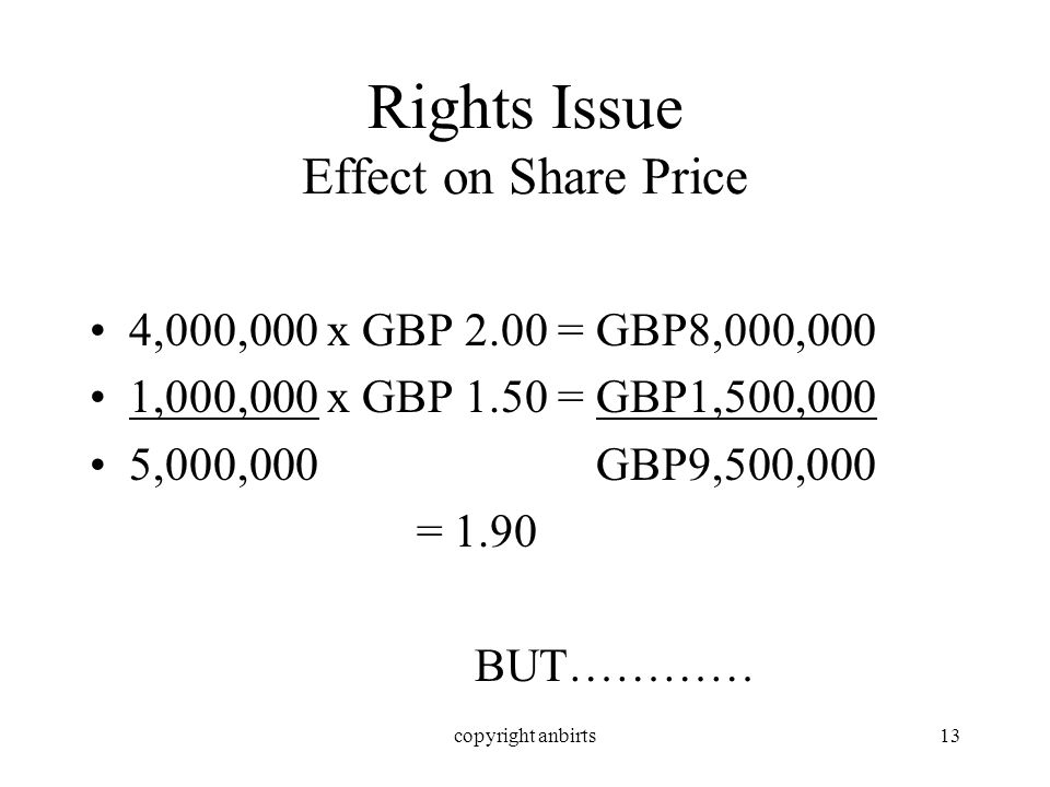 copyright anbirts13 Rights Issue Effect on Share Price 4,000,000 x GBP 2.00 = GBP8,000,000 1,000,000 x GBP 1.50 = GBP1,500,000 5,000,000 GBP9,500,000 = 1.90 BUT…………