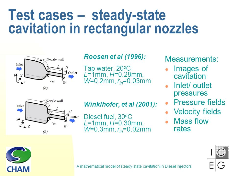 A mathematical model of steady-state cavitation in Diesel injectors Test cases – steady-state c avitation in rectangular nozzles Roosen et al (1996): Tap water, 20 o C L=1mm, H=0.28mm, W=0.2mm, r in =0.03mm Winklhofer, et al (2001): Diesel fuel, 30 o C L=1mm, H=0.30mm, W=0.3mm, r in =0.02mm Measurements: Images of cavitation Inlet/ outlet pressures Pressure fields Velocity fields Mass flow rates