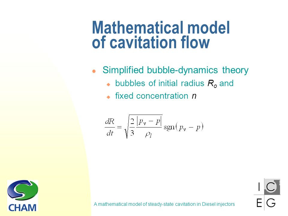 A mathematical model of steady-state cavitation in Diesel injectors Results – cavitation flow of Diesel fuel Measured (top, Winklhofer et al, 2001) and predicted (bottom) liquid-vapour fields.