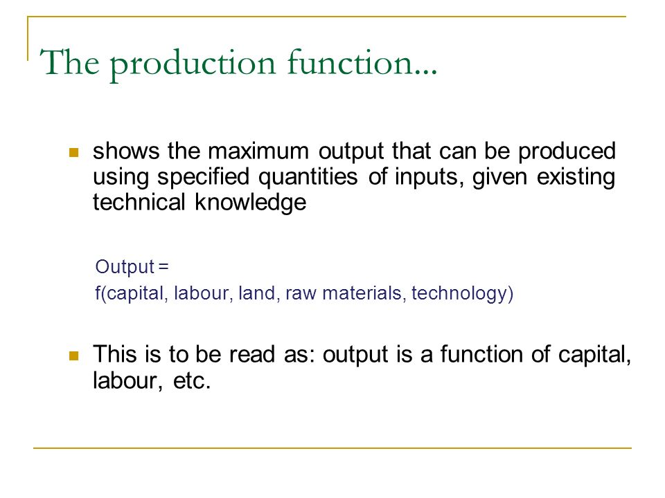 The production function...