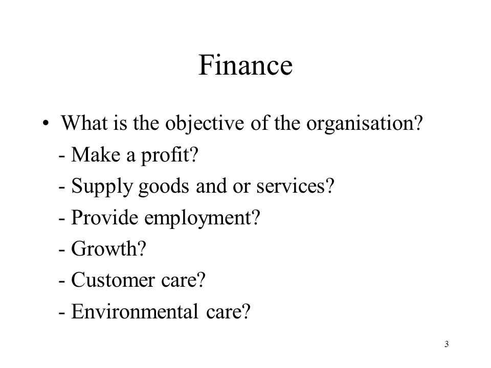 3 Finance What is the objective of the organisation? - Make a profit? - Supply goods and or services? - Provide employment? - Growth? - Customer care?