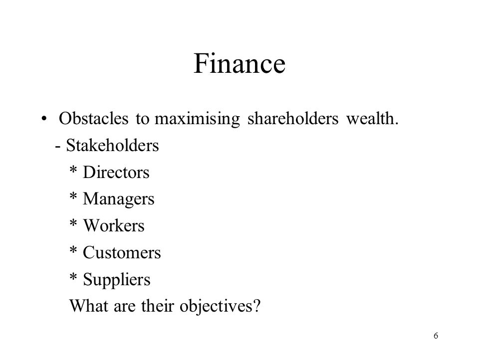 6 Finance Obstacles to maximising shareholders wealth.