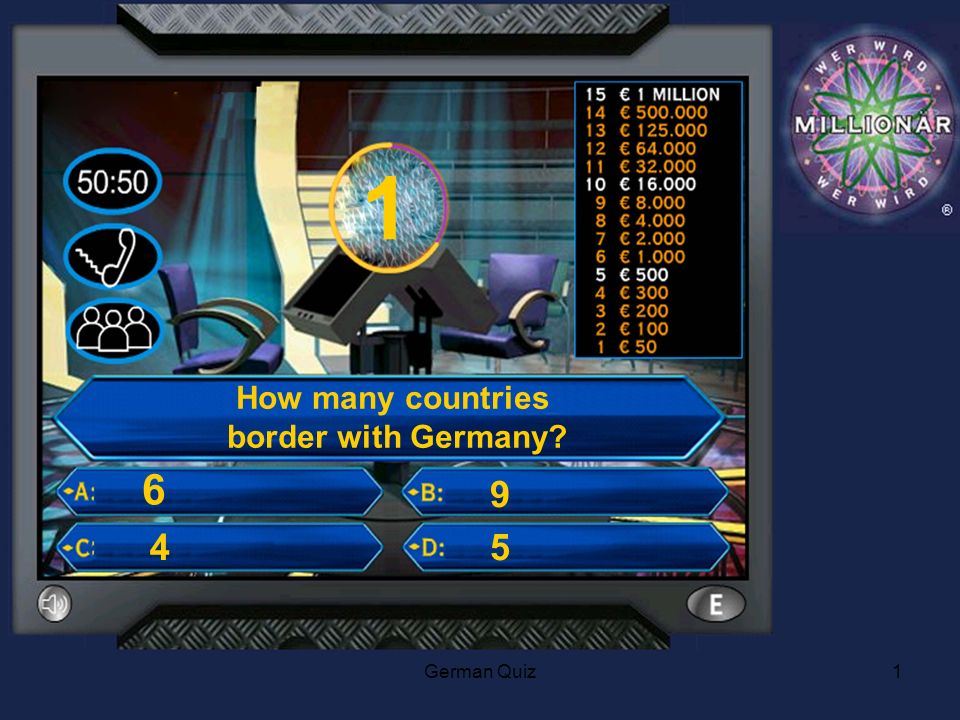 German Quiz1 1 How many countries border with Germany 4 6 9 5