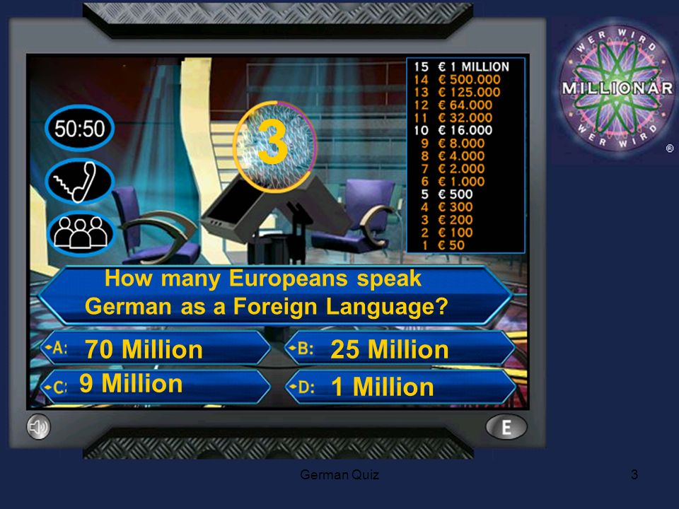 German Quiz3 3 How many Europeans speak German as a Foreign Language.