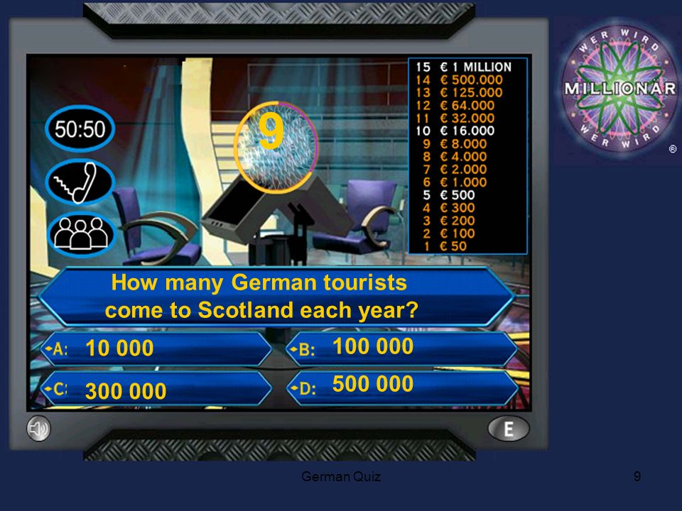 German Quiz9 9 How many German tourists come to Scotland each year 300 000 10 000 100 000 500 000