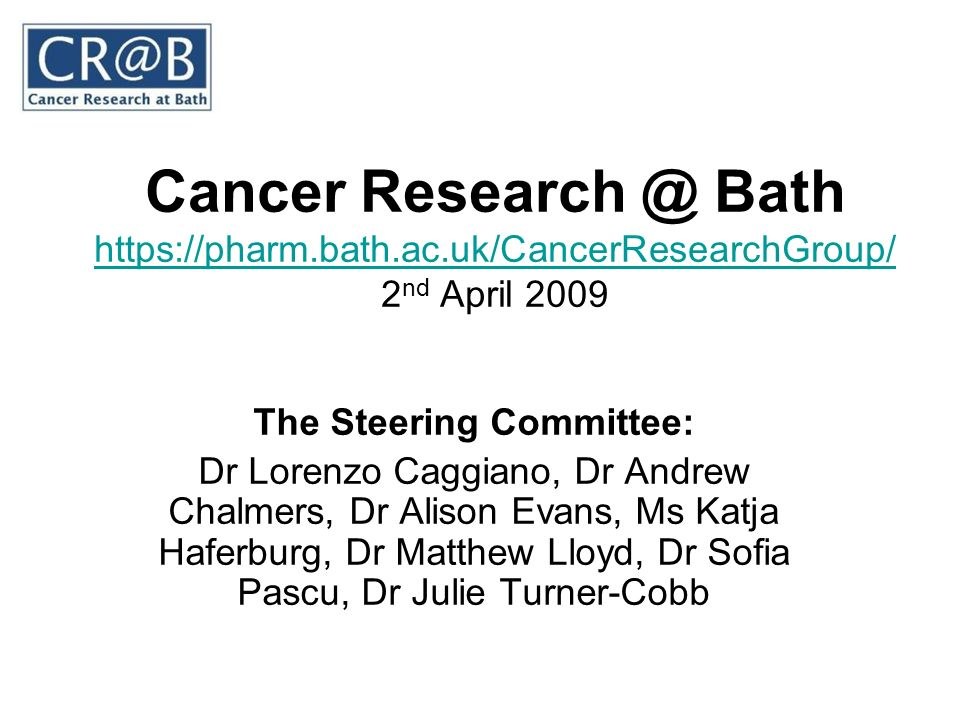 Cancer Research @ Bath https://pharm.bath.ac.uk/CancerResearchGroup/ 2 nd April 2009 https://pharm.bath.ac.uk/CancerResearchGroup/ The Steering Commit