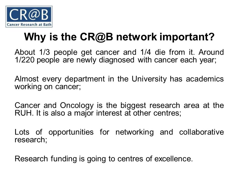 Why is the CR@B network important? About 1/3 people get cancer and 1/4 die from it. Around 1/220 people are newly diagnosed with cancer each year; Alm