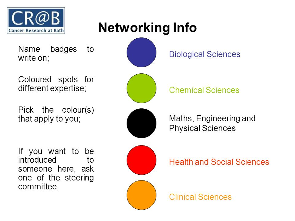 Networking Info Name badges to write on; Coloured spots for different expertise; Pick the colour(s) that apply to you; If you want to be introduced to