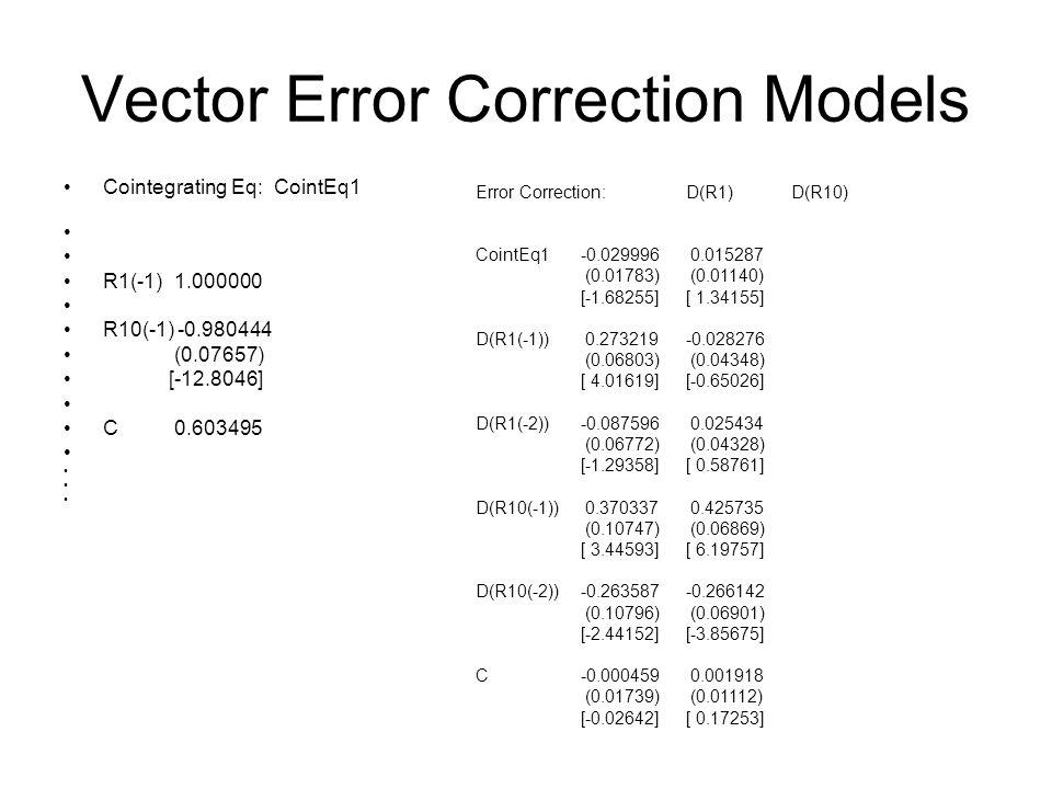 Vector Error Correction Models Cointegrating Eq: CointEq1 R1(-1) 1.000000 R10(-1) -0.980444 (0.07657) [-12.8046] C 0.603495 Error Correction:D(R1)D(R1