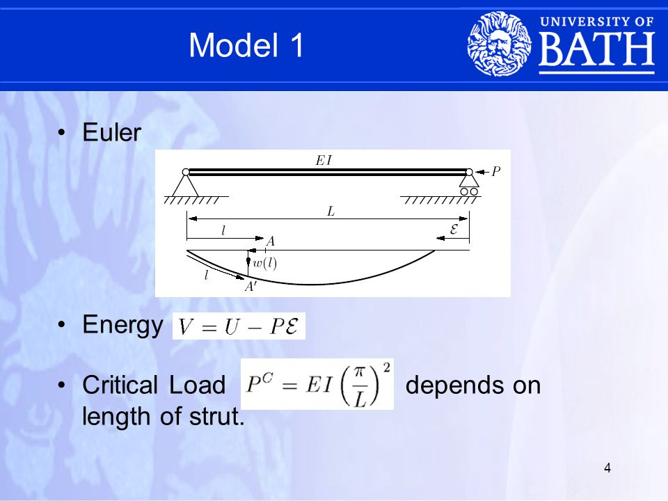5 Model 2 Strut on a linear elastic foundation – more realistic Critical load Wavelength