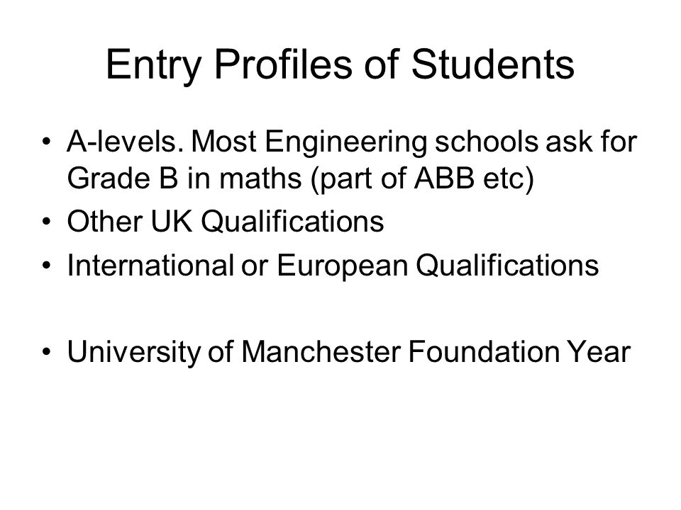 Entry Profiles of Students A-levels.