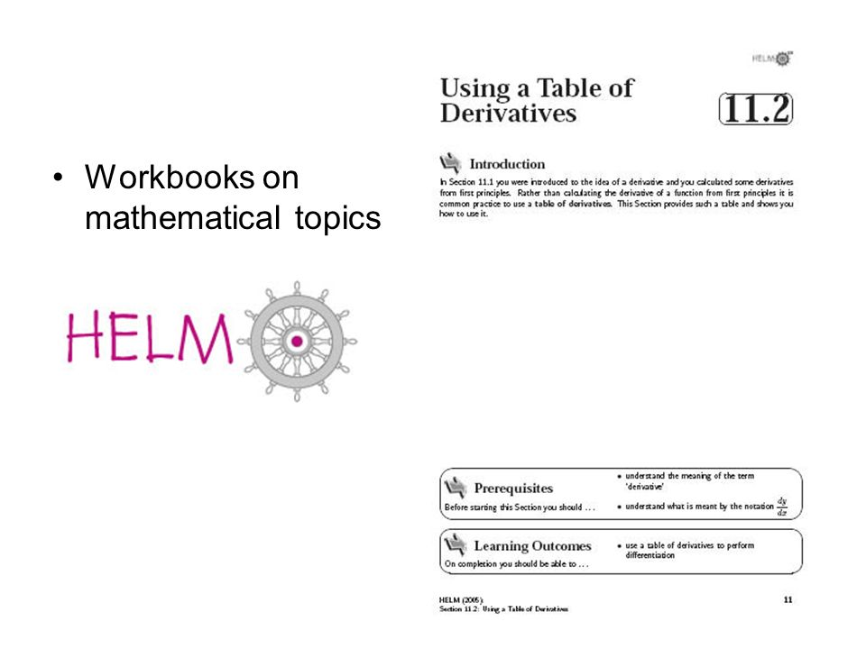 Workbooks on mathematical topics