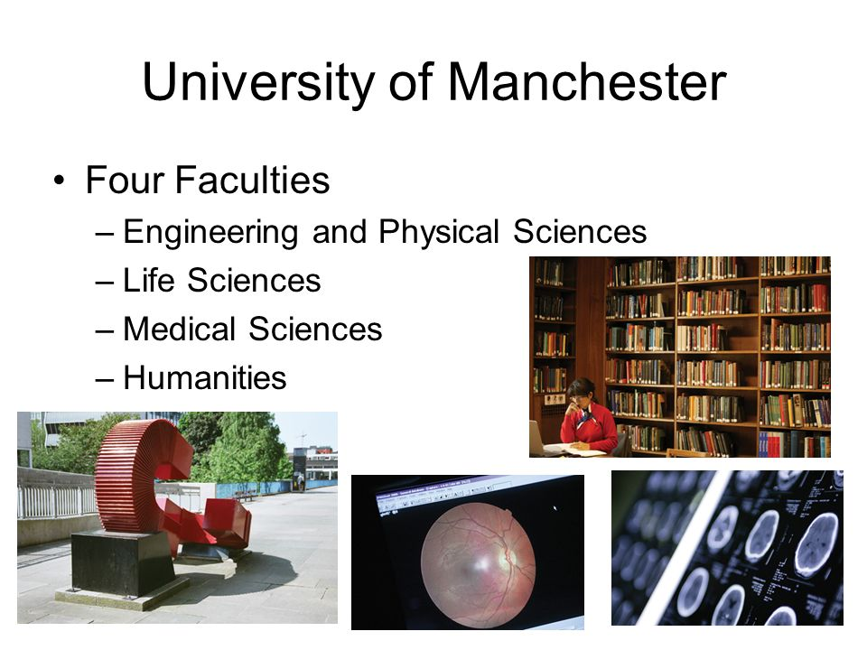 University of Manchester Four Faculties –Engineering and Physical Sciences –Life Sciences –Medical Sciences –Humanities