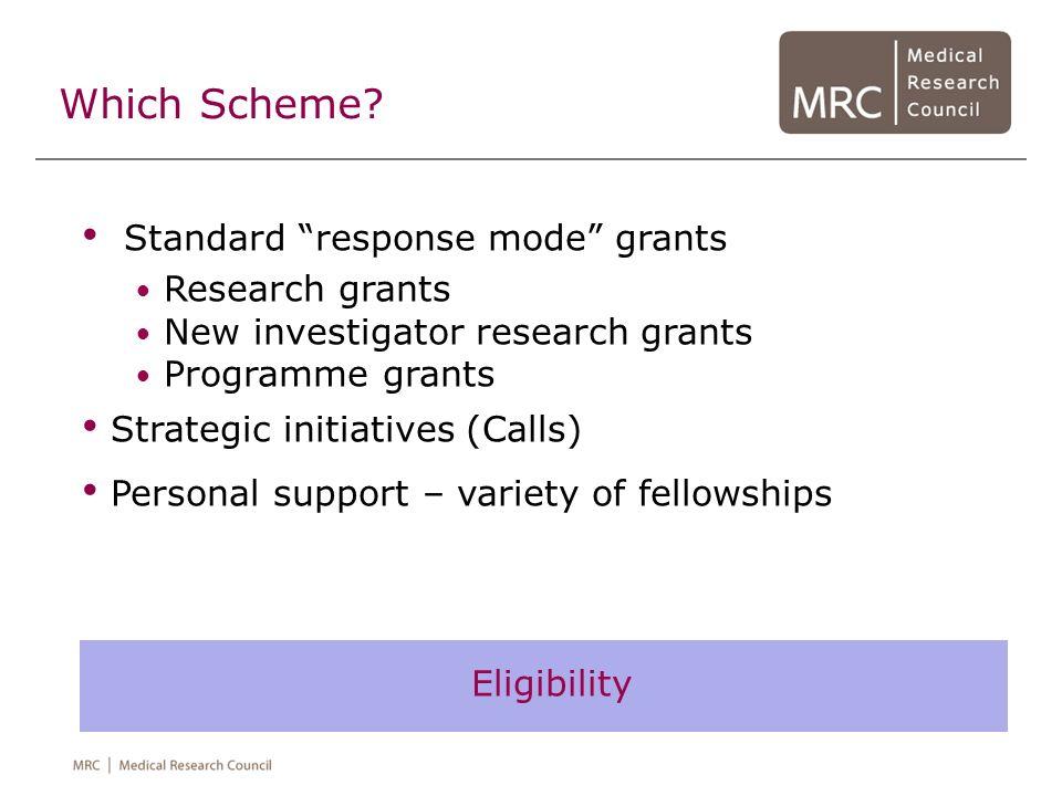 Which Scheme? Standard response mode grants Research grants New investigator research grants Programme grants Strategic initiatives (Calls) Personal s