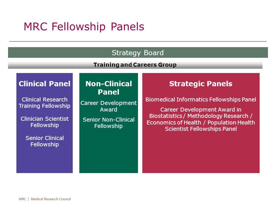 Clinical Panel Clinical Research Training Fellowship Clinician Scientist Fellowship Senior Clinical Fellowship MRC Fellowship Panels Strategy Board No