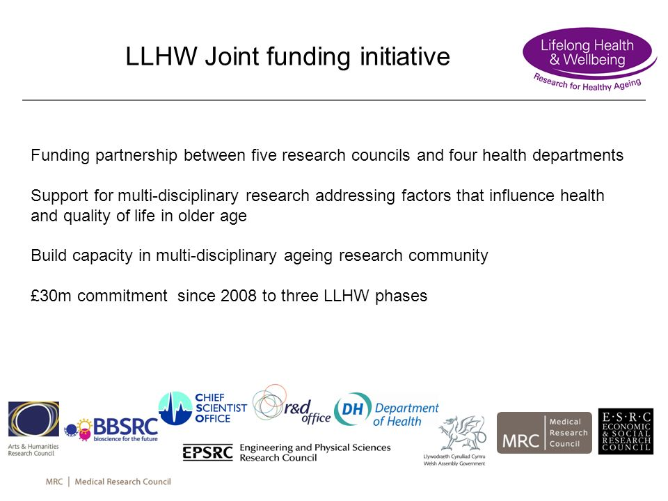 LLHW Joint funding initiative Funding partnership between five research councils and four health departments Support for multi-disciplinary research a