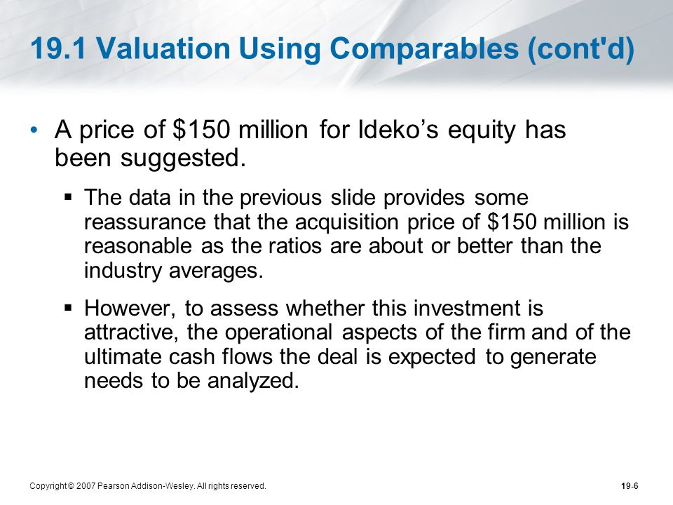 Copyright © 2007 Pearson Addison-Wesley. All rights reserved.19-6 19.1 Valuation Using Comparables (cont'd) A price of $150 million for Idekos equity