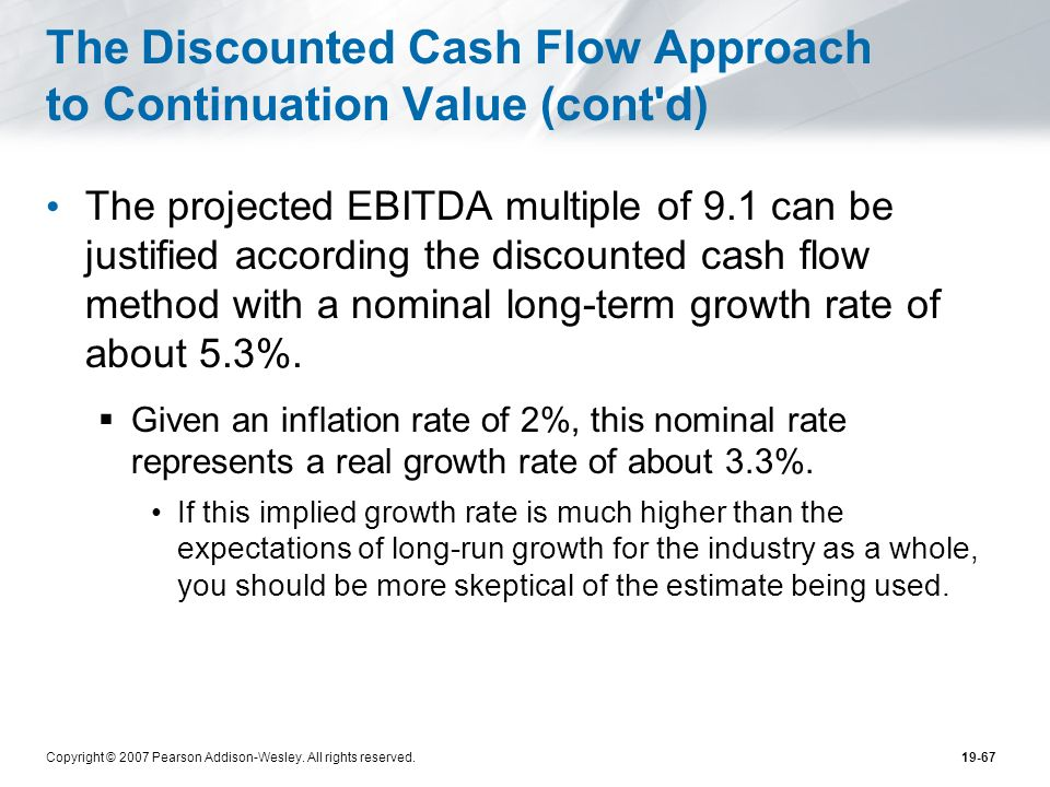 Copyright © 2007 Pearson Addison-Wesley. All rights reserved.19-67 The Discounted Cash Flow Approach to Continuation Value (cont'd) The projected EBIT