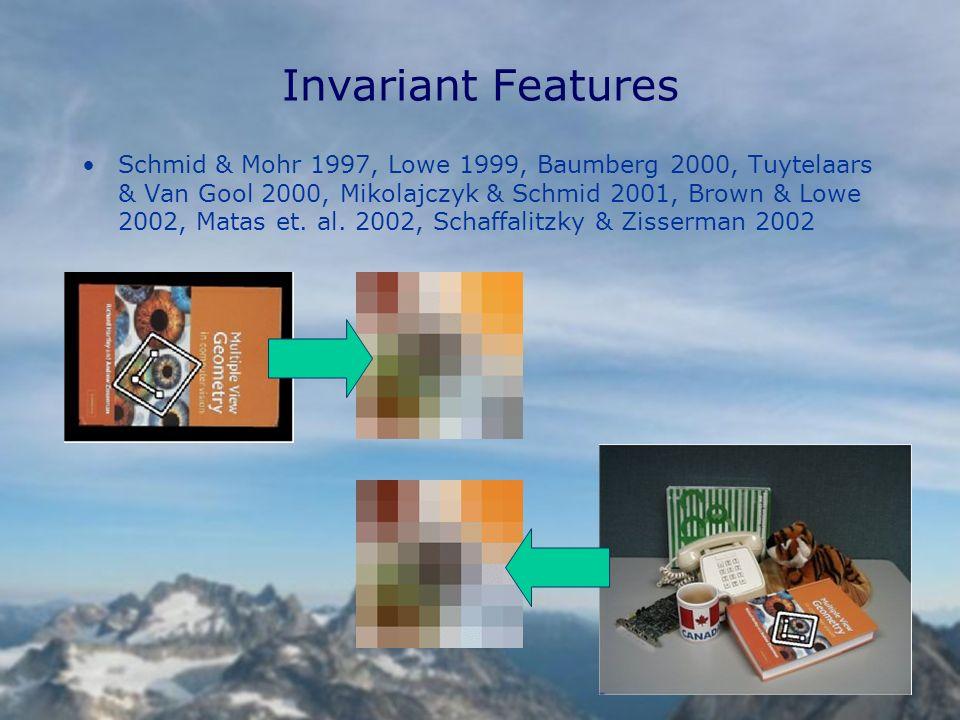 Invariant Features Schmid & Mohr 1997, Lowe 1999, Baumberg 2000, Tuytelaars & Van Gool 2000, Mikolajczyk & Schmid 2001, Brown & Lowe 2002, Matas et.