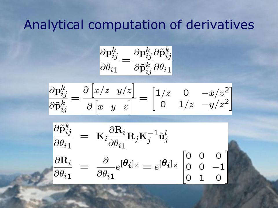 Analytical computation of derivatives