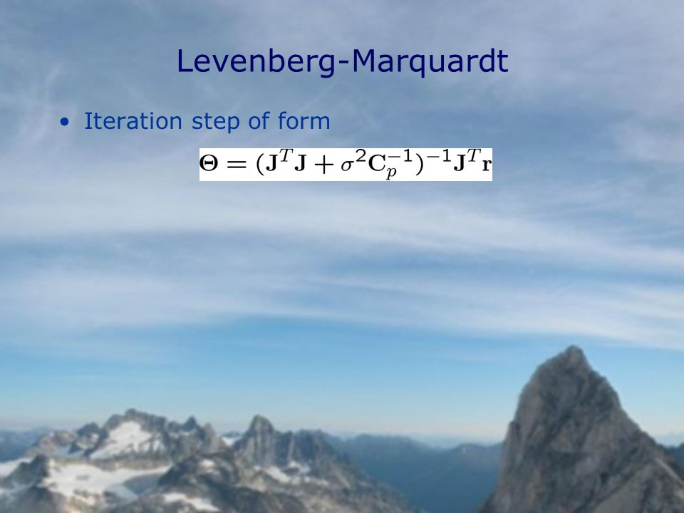 Levenberg-Marquardt Iteration step of form